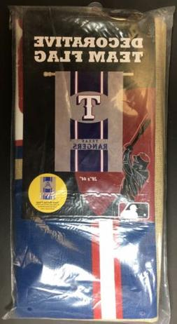 Texas Rangers MLB Decorative Burlap Handcrafted Team Flag 28