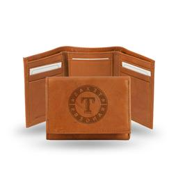 Texas Rangers MLB Embossed Leather Trifold Wallet - Free Shi