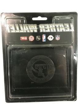 Texas Rangers MLB Embossed Logo Black Leather Trifold Wallet