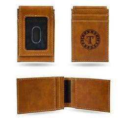 Texas Rangers MLB Laser EngravedBrown Front Pocket Wallet/