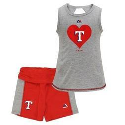 Texas Rangers MLB Majestic Little Girls Grey Tank Top & Shor