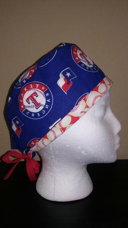 Texas Rangers MLB Men' Skull/Chemo Surgical Scrub Hat Handma