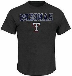 Texas Rangers MLB Majestic Mens Straight T Shirt Charcoal Bi