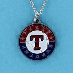 Texas Rangers Necklace - Pewter Charm on Chain Arlington MLB