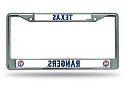 Texas Rangers NEW DESIGN Chrome Frame Metal License Plate Ta