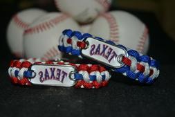 Texas Rangers Paracord Bracelet w/ MLB Dog Tag and Metal Buc