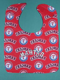 TEXAS RANGERS PERSONALIZED BABY BIB BIBS Large Terry + Cotto