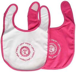 Texas Rangers Pink Baby Bib 2 Pack  MLB Infant Cotton Toddle