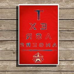 Texas Rangers Poster Sports MLB Baseball Eyechart Art Print