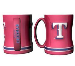 Texas Rangers Red 15oz Sculpted Relief Coffee Mug  MLB Tea C