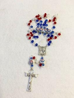 TEXAS RANGERS ROSARY NECKLACE JEWELRY PRAYER GLASS BEADED ML
