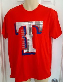 TEXAS RANGERS T Shirt Size Adult Medium Plaid T Logo Red New