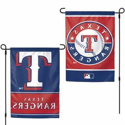 "TEXAS RANGERS TEAM GARDEN WALL FLAG BANNER 12"" X 18"" 2 SIDED"