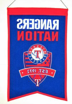 Texas Rangers Wool Nation Banner  MLB Sign Wall Man Cave Fla
